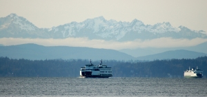The North Cascades in the horizon of Puget Sound.